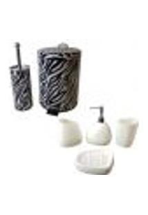 Kit Banheiro 5 Peças Com Lixeira Saboneteira Porta Escova Sabão Liquido - Deca 202