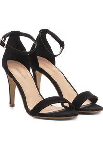 Sandália Shoestock Salto Fino Naked Feminina - Feminino-Preto