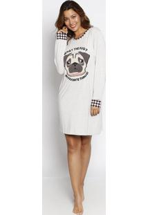 "Camisola ""Pug"" Com Patch - Cinza & Bege - My Favoritmy Favorite Things"