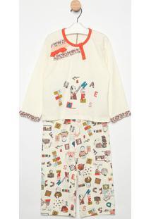 Pijama Manga Longa & Calã§A- Creme & Laranjasonhart