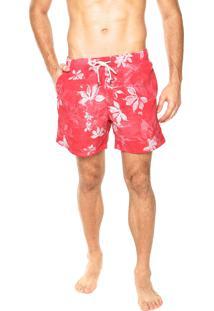 Bermuda Água Vr Flores Vermelho