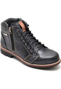 Bota D&R Shoes Couro Masculino - Masculino-Preto