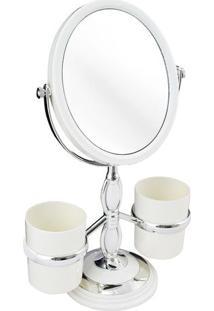 Espelho De Bancada Com Suportes- Espelhado & Off White