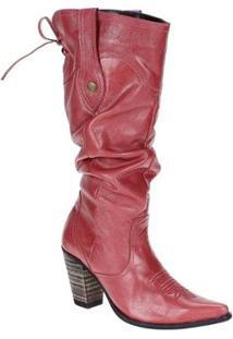 Bota Couro Texana West Country Feminina - Feminino-Rosa