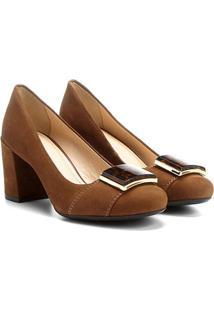 Scarpin Couro Shoestock Salto Médio Acrílico Onça
