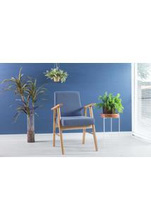 Poltrona Para Sala Com Braços De Madeira Estofada Cor Azul Claro Valentim - Verniz Amêndoa \ Tec.930 - 57X55X89 Cm