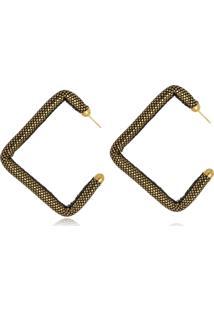 Brinco Argola Le Diamond Quadrada Metalizada Dourado