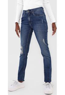 Calça Jeans Calvin Klein Jeans Skinny Destroyed Azul - Kanui