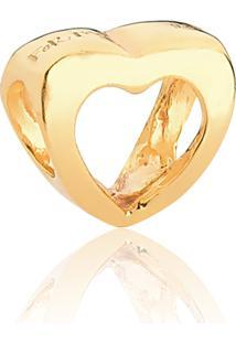 Pingente De Prata 925 Com Banho Dourado Separador Coração Vazado-Coleção For Me