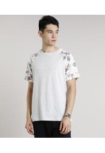 Camiseta Masculina Raglan Com Estampa Floral Manga Curta Gola Careca Cinza Mescla Claro