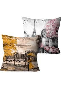 Kit 2 Capas Para Almofadas Decorativas Paris And London 45X45Cm