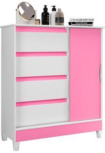 Cômoda Com 1 Porta E 4 Gavetas Ametista-Móveis Albatroz - Branco / Rosa