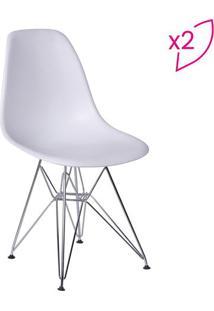 Jogo De Cadeiras Eames Dkr- Branco & Prateado- 2Pã§S