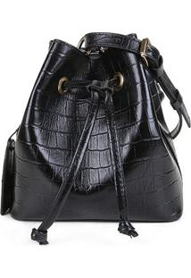 Bolsa Couro Shoestock Croco Bucket Belt Bag Feminina - Feminino-Preto