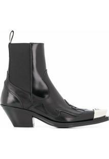Versace Bota Com Cap Toe Contrastante - Preto