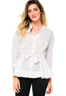 Camisa Manga Curta Carmim Catherine Branca