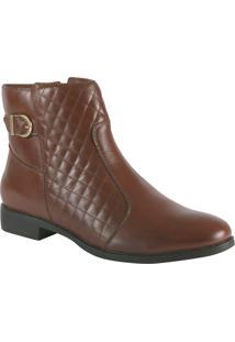 Ankle Boot Marrom Matelassê Com Fivela Dourada