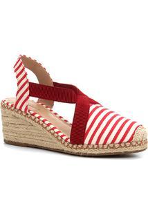 Sandália Anabela Shoestock Elástico Corda Feminina - Feminino-Vermelho