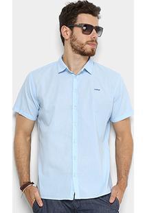 Camisa Colcci Slim Manga Curta Masculina - Masculino-Azul Claro