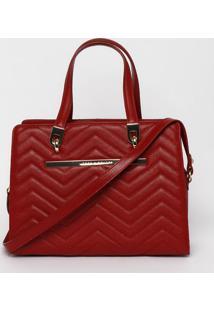 Bolsa Matelassê Em Couro- Vermelha- 26X30X12Cmjorge Bischoff