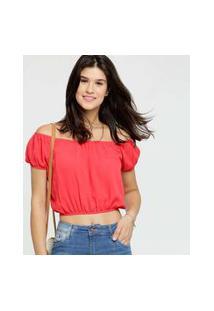 Blusa Feminina Cropped Crepe Ombro A Ombro