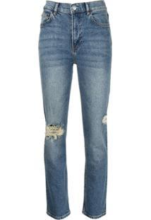 Reformation Calça Jeans Cintura Alta Com Efeito Destroyed - Azul