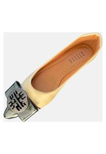Sapatilha Nude Bico Fino Preto Feminina Stella Shoes