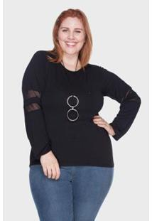 Blusa Com Tule Bold Plus Size Feminina - Feminino-Preto