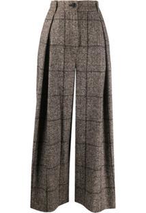 Dolce & Gabbana Calça Pantalona Xadrez De Tweed - Marrom