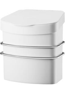 Suporte Cromado E Lixeira 2,5L Com Ventosa Future - Branco - Multistock