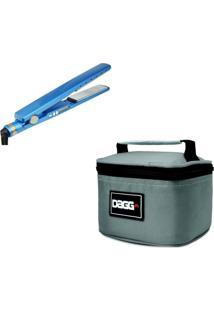 Necessaire Dagg Kit Chapinha Prancha Profissional Azul E Necessaire Cinza