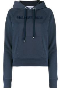 Helmut Lang Moletom Com Capuz E Logo Bordado - Azul