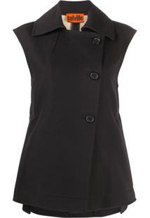 Colville Boxy Fit Side Buttoned Waistcoat - Preto