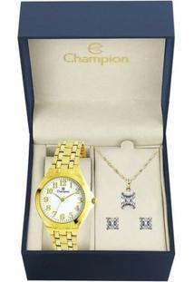 Kit Relógio Champion Feminino - Ch22877W - Feminino-Dourado