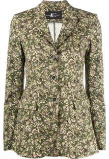 Luisa Cerano Floral-Print Single Breasted Blazer - Verde