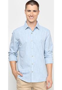 Camisa Social Calvin Klein Manga Longa Listras Masculina - Masculino-Azul Claro