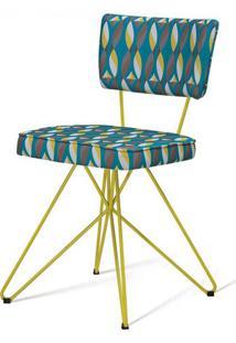 Cadeira Pop Retro Estampa Geo Pit Base Estrela Amarela - 49606 - Sun House