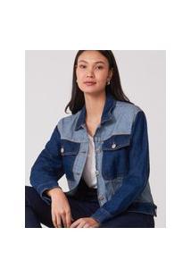 Amaro Feminino Jaqueta Jeans Bicolor, Azul Escuro