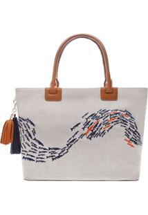 Bolsa Shopper Texturizada- Cinza & Azul Marinhoarezzo & Co.