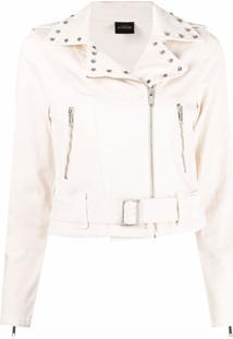 Twinset Studded Zip-Up Biker Jacket - Neutro