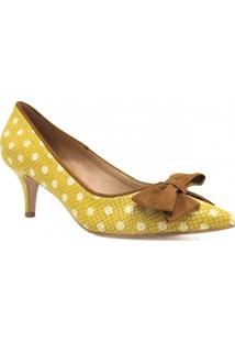 Scarpin Zariff Shoes Laço Feminino - Feminino-Amarelo