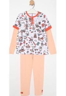 Pijama Manga Longa & Calã§A- Branco & Salmã£Osonhart