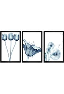 Quadro Oppen House 60X120Cm Flores Abstrato Transparentes Moldura Preta Estilo Raio-X Decorativo Interiores Mod:Oh010