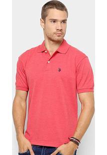 Camisa Polo U.S. Polo Assn Básica Lisa Masculina - Masculino-Vermelho Claro