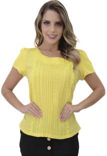 Blusa Mamorena Frente Nervura E Bordado Inglês Amarelo