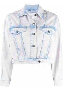 Iro Jaqueta Jeans Cropped Com Efeito Manchado - Azul