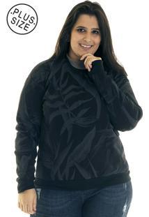 Blusão Konciny Moletom Básico Estampado Plus Size 3871623 Preto