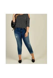 Calça Plus Size Feminina Jeans Cigarrete Sawary
