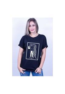 Camiseta Bilhan Corte A Fio Onça Abraço Gde Preta