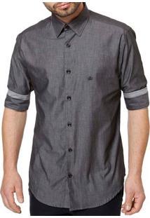 Camisa Manga 3/4 Masculina Cinza